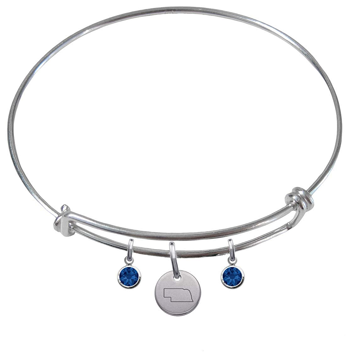 CustomCharms Nebraska State Expandable Wire Charm Bracelet Bangle w//Blue Color Crystals