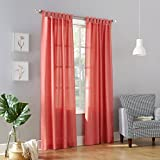 No. 918 Trevor Semi Sheer Tab Top Curtain Panel,Coral Orange,40″ x 84″ Review