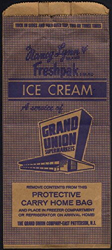 Grand Union Supermarkets Ice Cream Freshpak insulated bag unused 1950s - Grande Insulated Bag