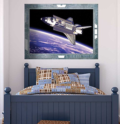Science Fiction ViewPort Decal A View of the Space Shuttle Flying Wall Mural