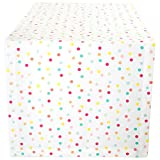 """DII Cotton Table Runner for Spring Wedding, Birthday Party, Baby Shower, Kid's Party, Easter and Everyday Use - 14x108"""", Multi Polka Dots"""