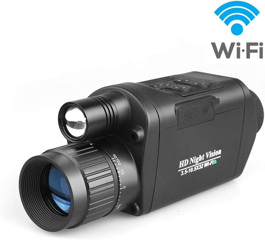 Bestguarder Digital Night Vision Monocular with WiFi, HD Infrared IR Camera Camcorder 3.5-10.5×32 1150ft 350M Viewing Range with 1.5 TFT LCD for Hunting