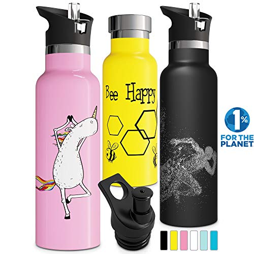Double Walled Insulated Water Bottle with Straw Lid & Sports Cap | Kids Stainless Steel Thermos | Metal BPA Free Eco Friendly Non Sweat Durable Finish 12oz/ 17oz/ 20oz/ 25oz (12 oz, Pink)