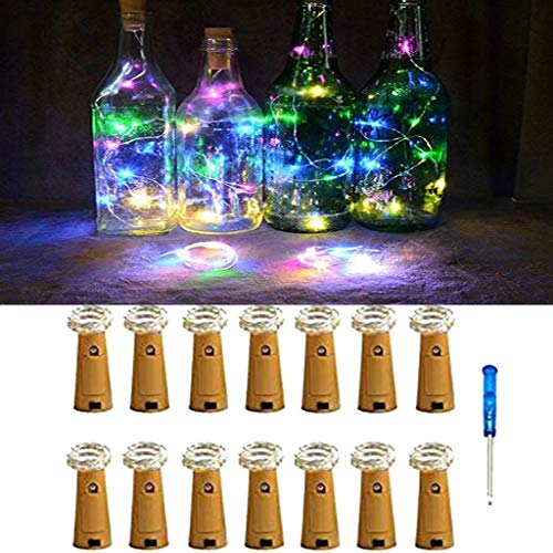 Kanzd 14Pcs Cork Shaped LED Night Light Starry Light Wine Bottle Lamp for Party Decor (Multicolor)]()
