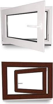 Kunststoff 2 fach Verglasung innen wei/ß//au/ßen dark oak Fenster BxH: 70 x 50 cm 60 mm Profil 700 x 500 mm Kellerfenster DIN Rechts