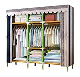 YOUUD 68' Wardrobe Storage Closet Portable Closet Shelves, Closet Stroage Organizer with Non-Woven Fabric, Quick and Easy to Assemble, Extra Strong and Durable Beige