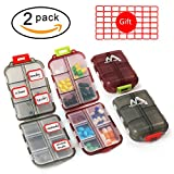 Muchengbao 2 Pack Pill Case Portable Small 7-Day Weekly Travel Pill Organizer Portable Pocket Pill Box Dispenser for Purse Vitamin Fish Oil Compartments Container Medicine Box by (Gray+Dark red)