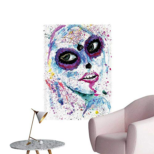 Vinyl Wall Stickers Grunge Halloween Lady with Sugar Skull Make Up Creepy Dead Gothic Woman Artsy Perfectly Decorated,20