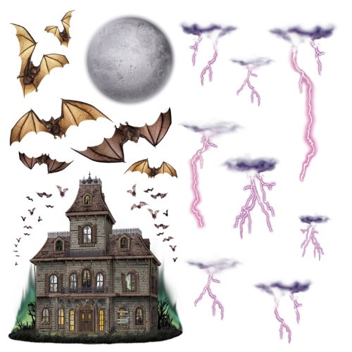 Haunted House & Night Sky Props Party Accessory (1 count) (16/Pkg) -