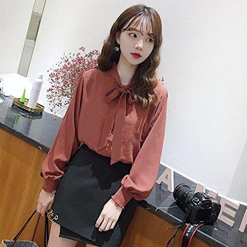 Xmy Qualité et polyvalent de printemps de couleur solide cravate manches élastique tissé neige shirt à manches longues et un t-shirt T-shirt femme code sont
