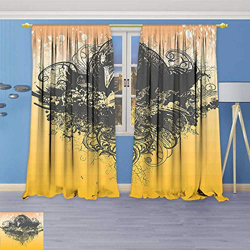 Philiphome Thermal Weaved Blackout Curtain,Halloween Theme Vector Illustration of a Wicked Crow and Flowers Print Black and Room Darkening & Noise Reduction Fabric - Premium Draperies