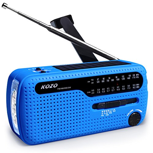 Best NOAA Weather Radio For Emergency By Kozo. Multiple Ways To Charge, Self Powered By Dynamo Hand Crank & Solar Panel, Long Antenna To Pick Up Reception Everywhere by Kozo