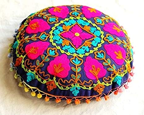 Amazon.com: handicraftofpinkcity Otomano Ronda Cojín Suzani ...