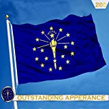 G128 Indiana State Flag 210D Oxford Nylon 3x5 ft EMBROIDERED Brass Grommets Flag Indoor/Outdoor
