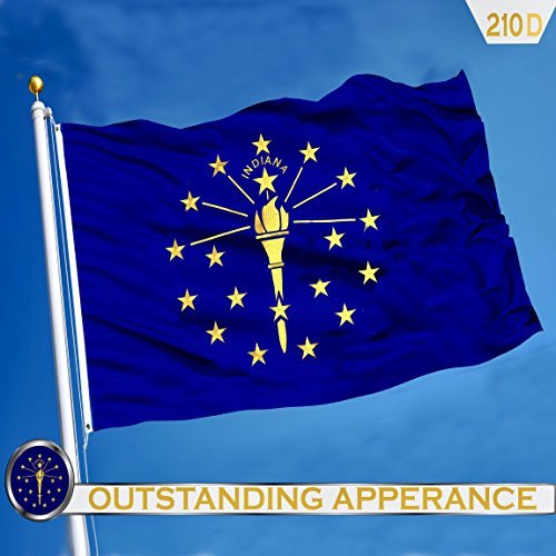 Indianapolis Flag - G128 Indiana State Flag 210D Oxford Nylon 3x5 ft EMBROIDERED Brass Grommets Flag Indoor/Outdoor