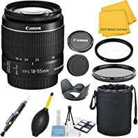 Canon EF-S 18-55mm f/3.5-5.6 IS II (White Box Packaging) Zoom 33rd Street Lens Bundle for Canon SLR Cameras