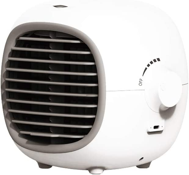 Personal Space Air Conditioner, Jaff Portable Mini Air Cooler Desktop Cooling Fan USB Interface with Stepless control for Home Room Office (white)