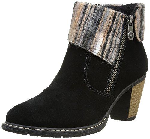 Rieker Z1563-01 - Botas de cuero para mujer negro - Schwarz (schwarz/grau-beige / 01)