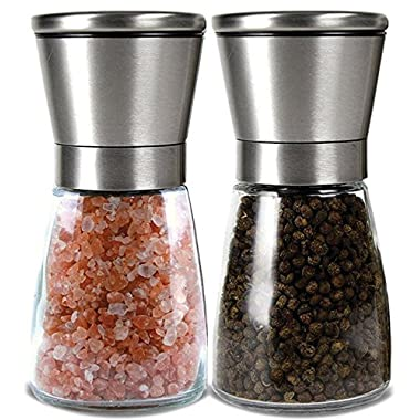 Best Salt and Pepper Grinder Set - Unlike other Salt and Pepper Mill Set - Premium Salt and Pepper Shakers Maintain Salt and Pepper Freshens & Easy to Fill - Elegant Salt & Pepper Shakers