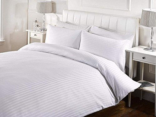 Kotton Culture Duvet Cover Striped 100% Egyptian Cotton 600 Thread Count with Zipper Closure & Corner Ties Premium Comforter Cover Soft & Smooth (California King/King, White) (Cover Brown And Striped Duvet White)