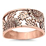 Sterling Silver 14K Gold Plated Sunflower Band Anniversary Ring 14mm (Size 5 to 12), 5