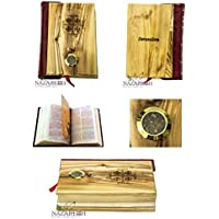 Olive Wood Hand Carved Millennium Bible Book with Holy Soil and Jerusalem Cross Holy Land