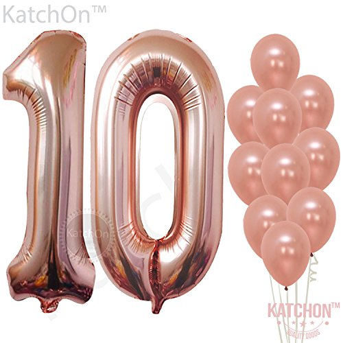 Rose Gold 10 Number Balloons Decorations - Extra Latex Balloons and Foil Mylar Ballons | 10th Birthday Party Decorations | 10 Year Party Supllies for Bday Decor, Anniversary, 32 Foot (10 Set Rose)