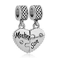 LilyJewelry Mom Mother Daughter Son Love Heart Charm Beads for Snake Chain Bracelet