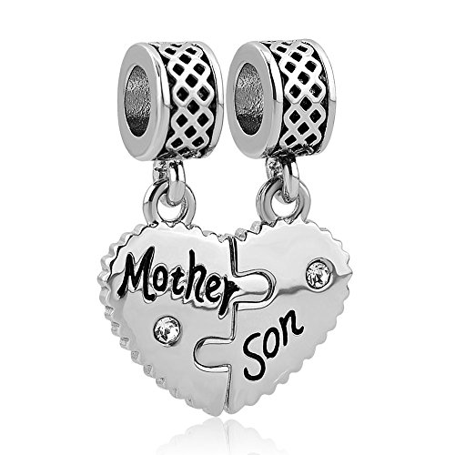 LovelyCharms Mother Son Heart Charm Set Dangle Bead Fits European Bracelets (Mother Son)