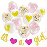 "Baby Shower Decorations for Girl | Party Decor Pink and Gold Confetti Balloons | ""It's a Girl"" Sign Banner Hang on Wall Garland 