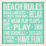 My Word 18 by 18-Inch Framed Sign, Beach Rules