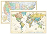 #10: RMC Classic United States USA and World Wall Map Set (Laminated)