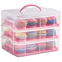 VonShef Snap and Stack Pink 3 Tier Cupcake Holder & Cake Carrier Container - Store up to 36 Cupcakes or 3 Large Cakes
