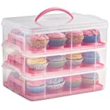 VonShef Snap and Stack Pink 3 Tier Cupcake Holder & Cake Carrier...