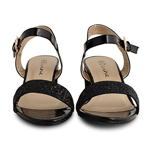 Womens Ladies Strappy Sandals Low Heel Ankle Strap Cuff Evening Party Shoes Size Black Patent Glitter wDC9G