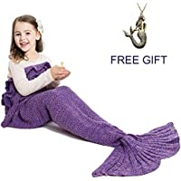 JR.WHITE Mermaid Tail Blanket for Kids Adult,Hand Crochet...
