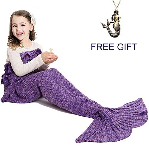 JR.WHITE Mermaid Tail Blanket for Kids Adult,Hand Crochet Snuggle Mermaid,All Seasons Seatail Sleeping Bag Blanket -