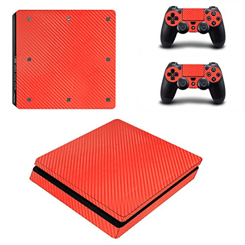 Chickwin PS4 Slim Vinyl Skin Full Body Cover Sticker Decal For Sony Playstation 4 Slim Console & 2 Dualshock Controller Skins (Red Carbon - Uk Voucher Jack Wills