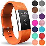 Yousave Accessories Replacement Strap for FitBit Charge 2, Silicone Sport Wristband for the FitBit Charge 2 - (Large - Single Pack, Orange)