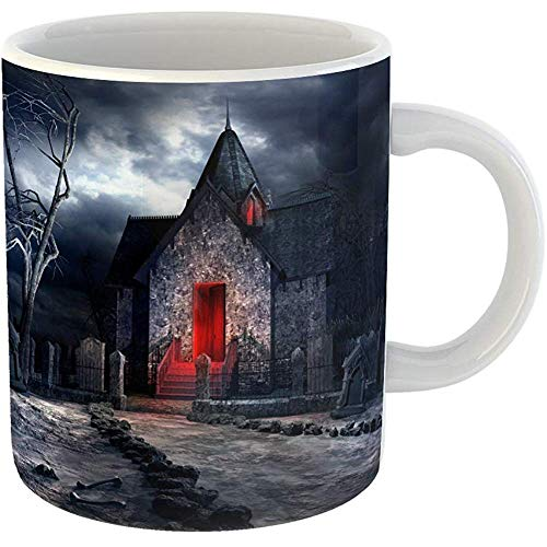 Funny Coffee Tea Mug Gift 11 Ounces Funny Ceramic Halloween Dark Gothic Scenery Old Crypt Creepy Tree and Bones Cemetery Gifts For Family Friends Coworkers Boss Mug -