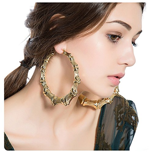 (Gold Plated Bamboo Hoop Earring Hollow Casting Hip-Hop Statement Jewelry for Women Dia 100mm)