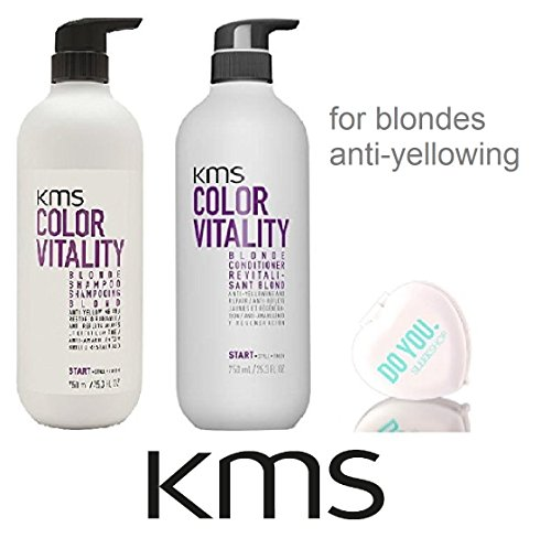 (KMS Color Vitality BLONDE Shampoo & Conditioner, Anti-Yellowing & Restored Radiance (with Sleek Compact Mirror) (25.3 oz / 750ml LARGE DUO SET))