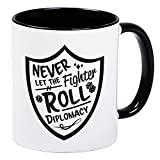 Never Let The Fighter Roll Diplomacy White Gaming Mug With Black Interior And Handle