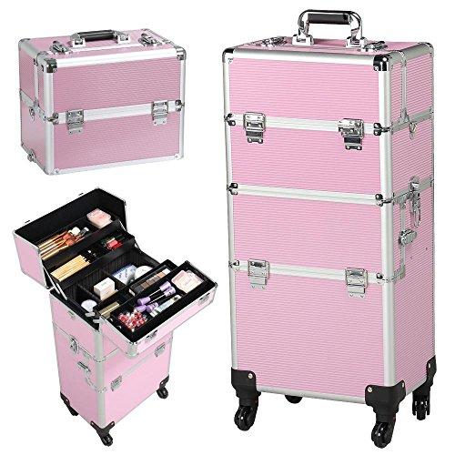 fe3cb8e72 go2buy 3 in 1 Makeup Beauty Nail Case Cosmetics Trolley Bag Box Makeup  Organizer (Pink