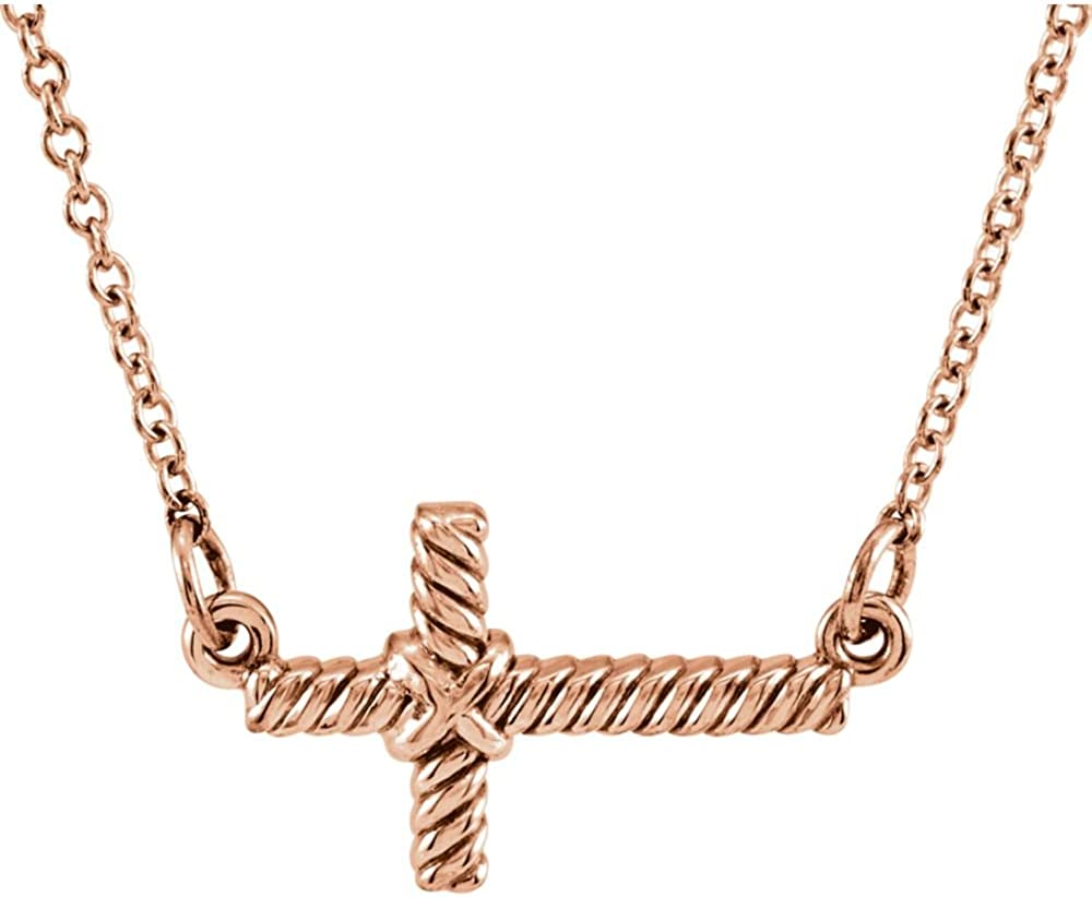 FB Jewels 14K Rose Gold 8.65x16mm Sideways Rope Cross 16.5 Necklace