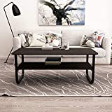 """Soges Coffee Tables 47"""" Coffee Table Modern Style End Table Console Table 2 Tiers,Black PKS-CSLH402-120B-CA"""