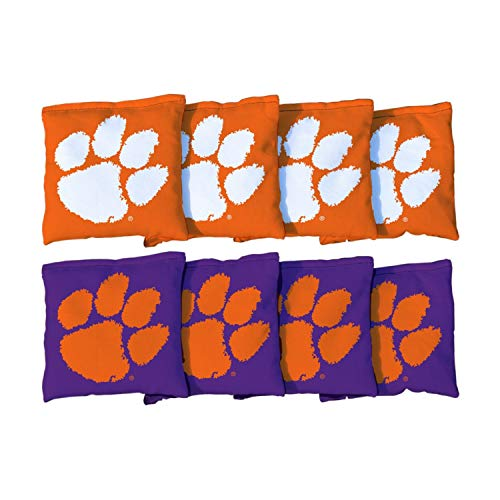 Victory Tailgate NCAA Collegiate Regulation Cornhole Game Bag Set (8 Bags Included, Corn-Filled) - Clemson Tigers Clemson Tigers Tailgate Toss