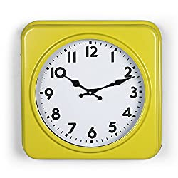 Adeco CK0095 Yellow & White Antique Look Dial Decorative Retro Vintage Traditional Wall Hanging Square Iron Clock, Arabic Numerals Numbers, Battery Quartz, Yellow