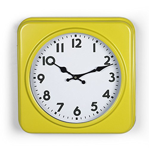 Adeco CK0095 Yellow & White Antique Look Dial Decorative Retro Vintage Traditional Wall Hanging Square Iron Clock, Arabic Numerals Numbers, Battery Quartz, ()
