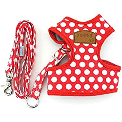 SMALLLEE_LUCKY_STORE New Soft Mesh Nylon Vest Pet Cat Small Medium Dog Harness Dog Leash Set Leads Red M